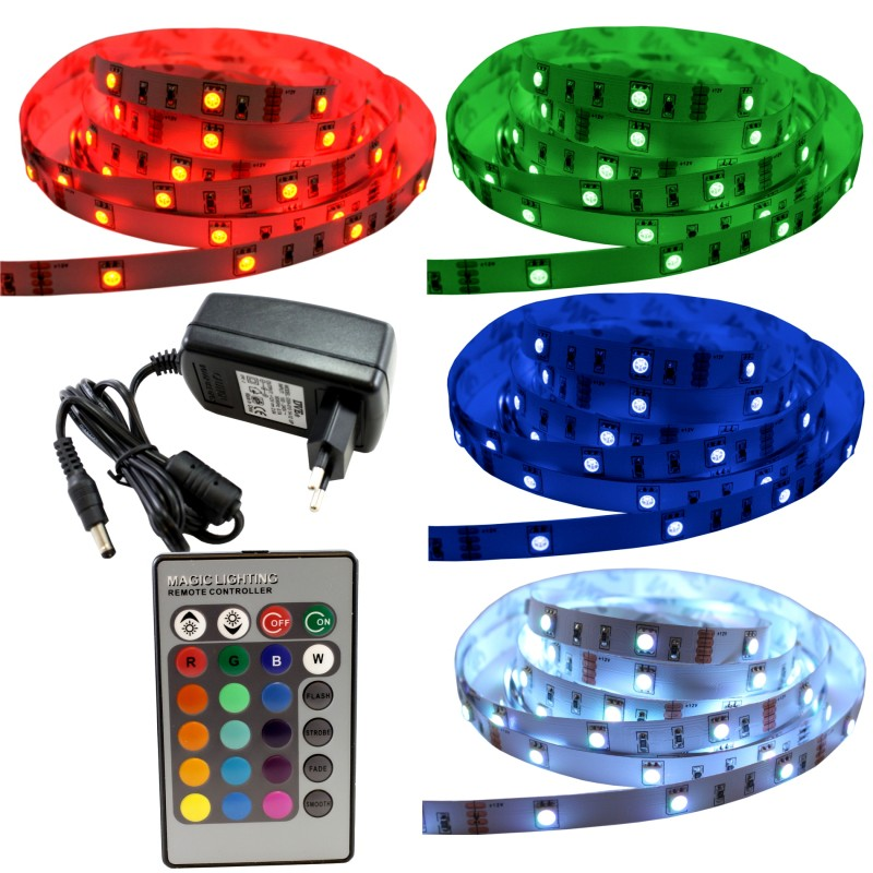 5m rgb bunte led streifen strip 5050 30 smd. Black Bedroom Furniture Sets. Home Design Ideas