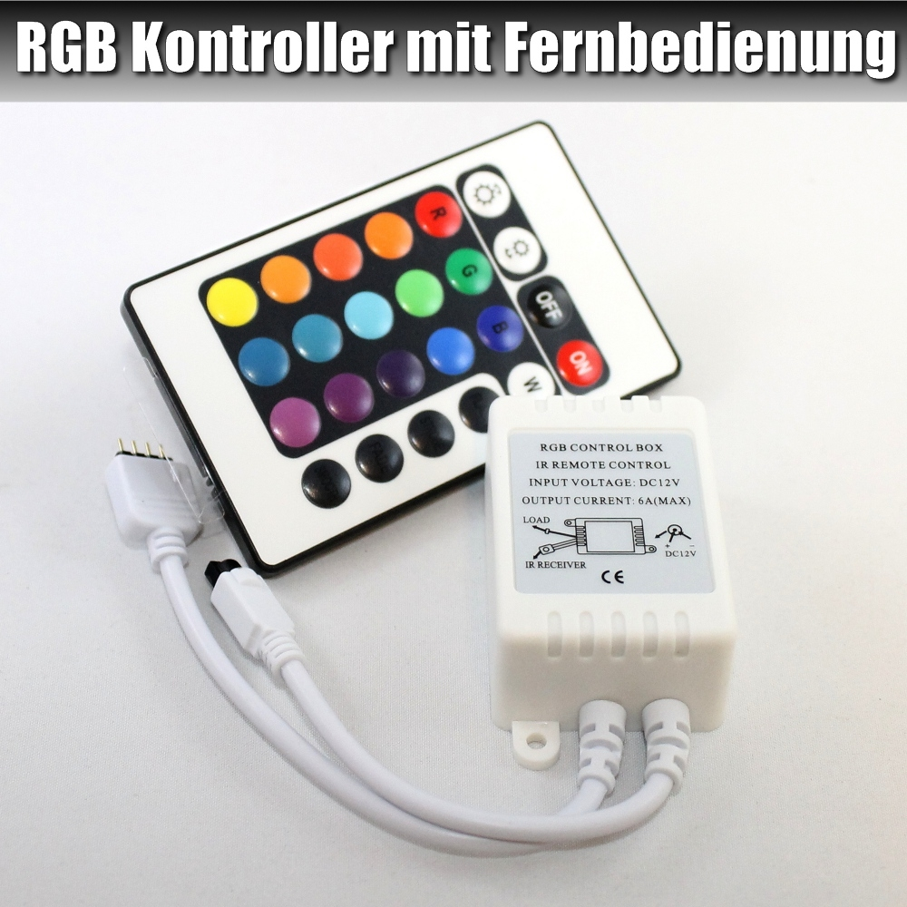 led rgb controller mit fernbedienung f r 12v rgb led streifen 7. Black Bedroom Furniture Sets. Home Design Ideas
