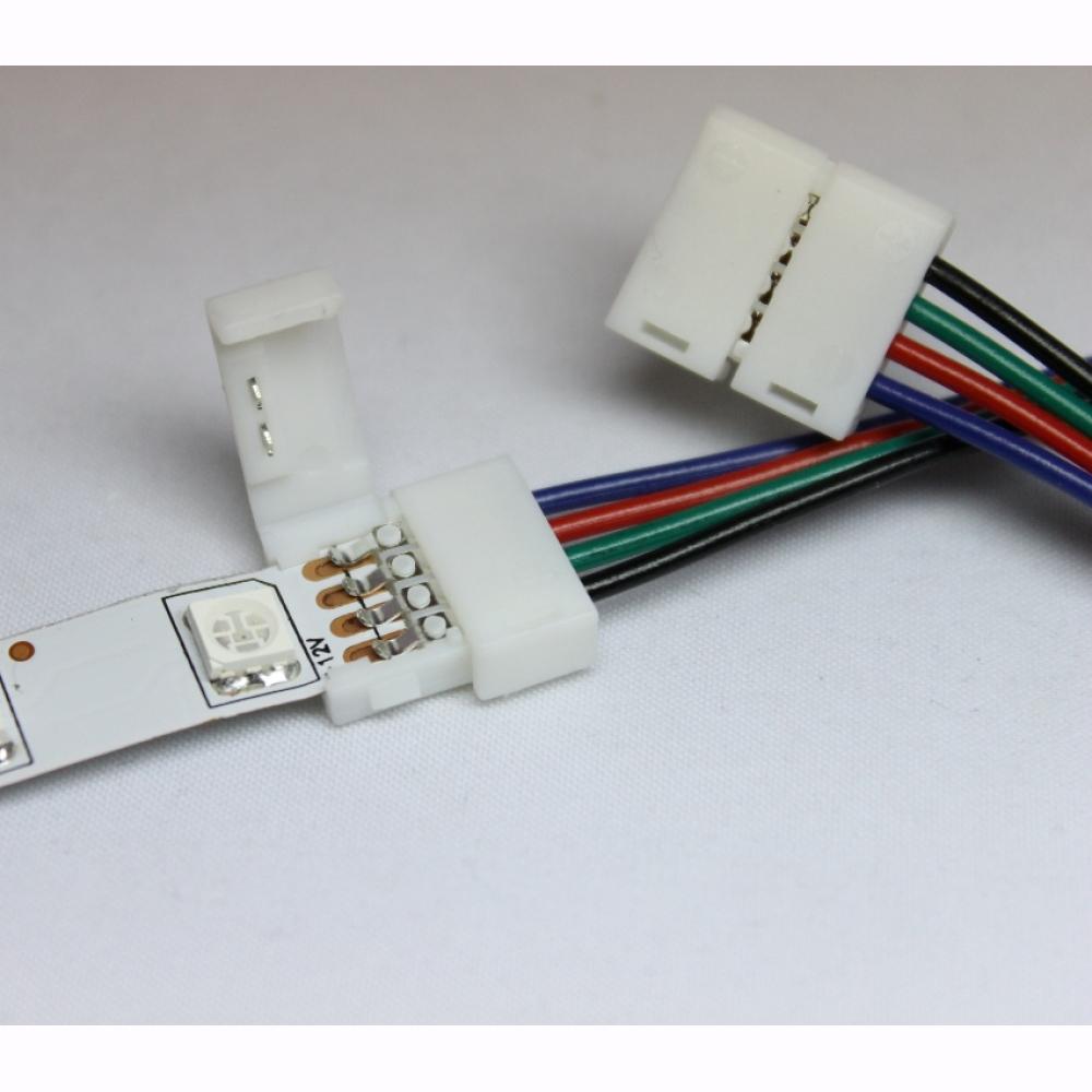 schnellverbinder f r 10mm rgb led strips adapter verbinder kabel. Black Bedroom Furniture Sets. Home Design Ideas